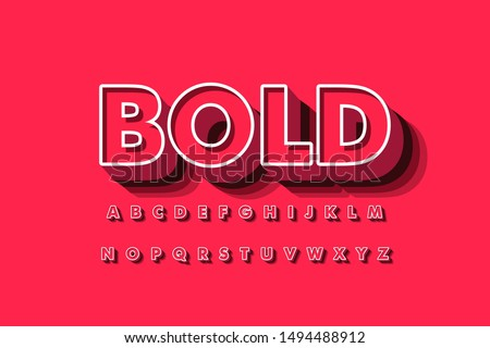 Modern 3D font and alphabet for poster, sticker vector