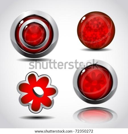 Modern 3d glossy shine spring design button with chrome frame. Vector illustration.