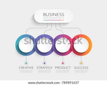 Modern 3D infographic template with 4 steps. Business circle template with options for brochure, diagram, workflow, timeline, web design. Vector EPS 10