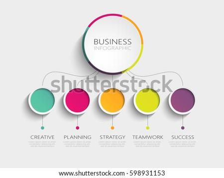 Modern 3D infographic template with 5 steps for success. Business circle template with options for brochure, diagram, workflow, timeline, web design. Vector EPS 10