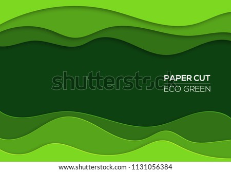 Modern 3d Paper Cut Art Template With Abstract Curve Shapes Green Color Eco Design