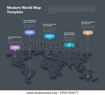 Modern 3d world map infographic template with colorful pointer marks - dark version. Easy to use for your design or presentation. Stock fotó ©