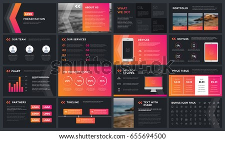 Modern dark presentation template. You can use it presentation, flyer and leaflet, corporate report, marketing, pitch, annual report, catalog.