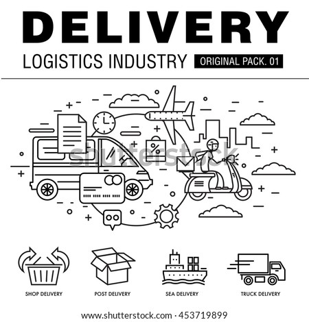 Modern delivery industry pack. Thin line icons set logistic network. Transport set collection with global industry elements. Premium quality vector symbol. Stroke pictogram for web design.