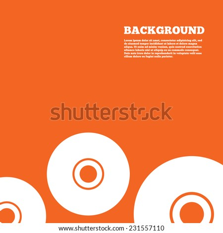 Modern design background. CD or DVD sign icon. Compact disc symbol. Orange poster with white signs. Vector