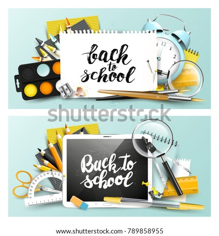 Modern design headers with school accessories and