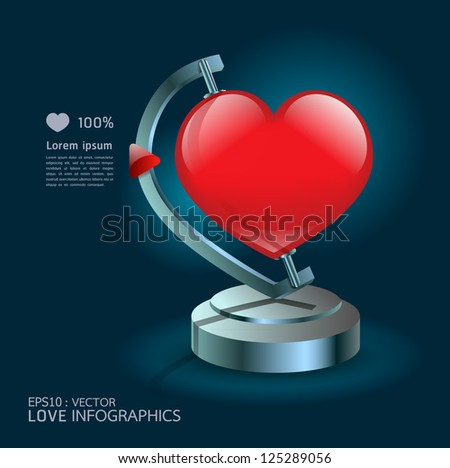 Modern Design  infographics love globe concept/ graphic or website layout vector