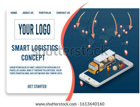 Modern design isometric concept of Smart Logistics with with global logistics partnership for website and mobile website.  Easy to edit and customize. Vector illustration