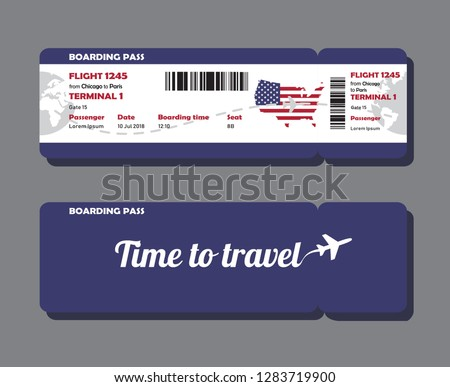 Modern design of USA airline travel boarding pass. Two tickets template with map of USA painted in flag color, front and back side. Vector illustration isolated on green background.