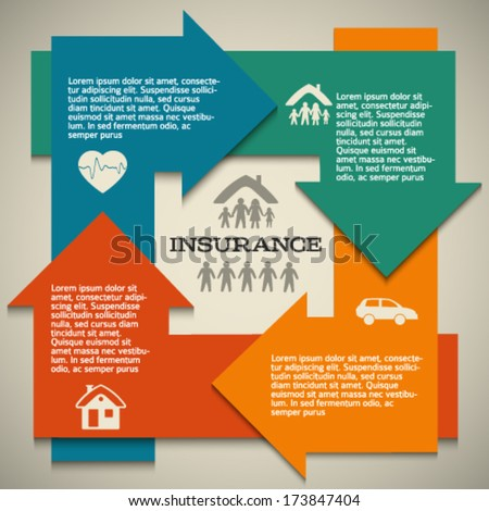 Modern Design style infographic template Illustration of different kinds of insurance Can be used for infographics and typography chart process the insurance company business service steps options
