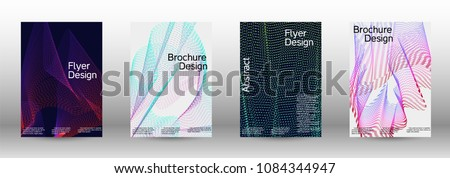 Modern design template. A set of modern abstract covers. Creative sound backgrounds from abstract gradient wave lines to create a trendy abstract cover, banner, poster, booklet.