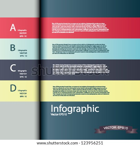 Modern  Design template / can be used for infographic / numbered banner / horizontal cutout line / graphic or website layout vector