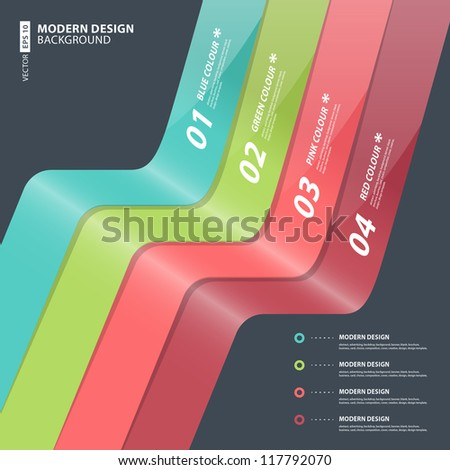 Modern Design template / can be used for infographics / numbered banners / horizontal cutout lines / graphic or website layout