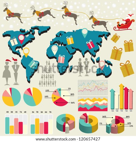 Modern Design template Christmas presentation with world map and Santa riding reindeer / for Year-end Statistics / annual report /info graphics / human resource / banners, graphic or website layout