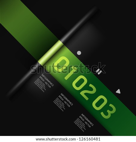 Modern Design template green colour / can be used for infographics / numbered banners / horizontal cutout lines / graphic or website layout vector