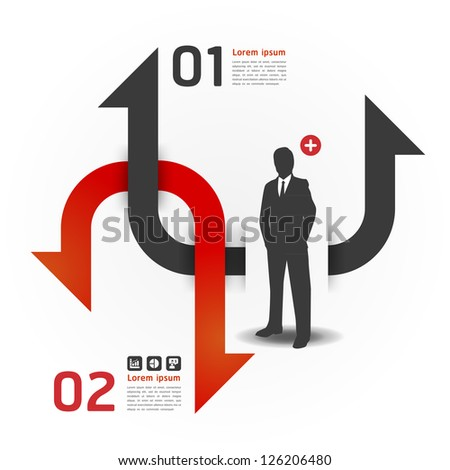 Modern Design template with business man can be used for infographics numbered banners horizontal cutout lines graphic or website layout vector