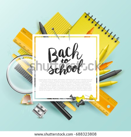 Modern design template with school accessories and