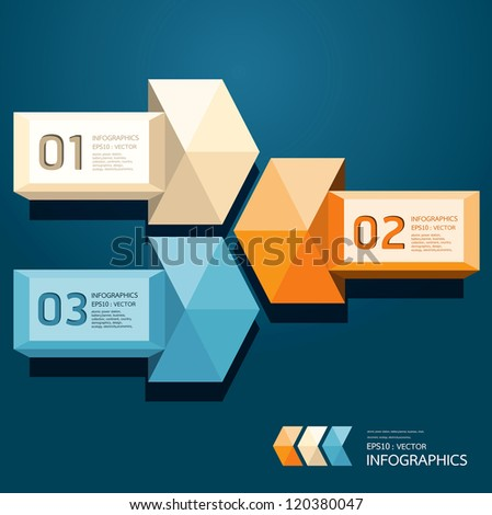 Modern Design Triangle on arrow template / can be used for infographics / numbered banners / horizontal cutout lines / graphic or website layout vector/Horizontal