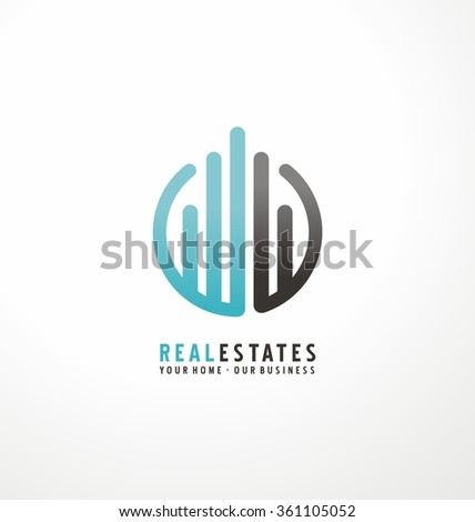 Modern design with commercial building and chart bars. Flat business logo design on white background. Simple style icon layout with rounded lines. Symbol concept for accounting or real estate firm.
