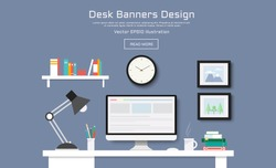 Modern Desk with computer set  documents and stationery is  Workplace for graphic designer and photographer  use for web template  banner and presentations ,flat computer icon set vector design