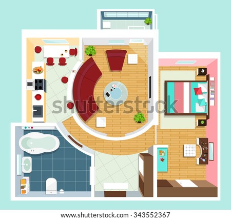 Simple House Floorplan Vector Download Free Vector Art Stock