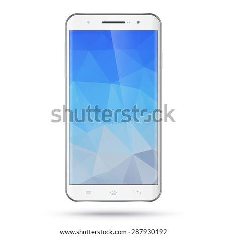 Modern detailed realistic white smartphone, mobile phone, cellphone vector mockup. Blank polygonal screen. Isolated on white background