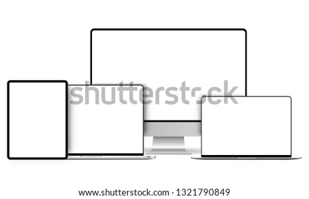 Modern devices mockups with blank frameless screens: computer monitor, laptop, tablet. Vector illustration