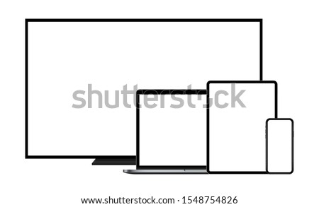 Modern devices mockups with blank screens: TV, laptop, tablet computer, mobile phone. Vector illustration