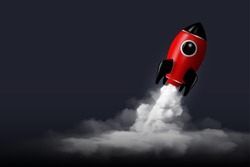 Modern digital rocket 3D rendering