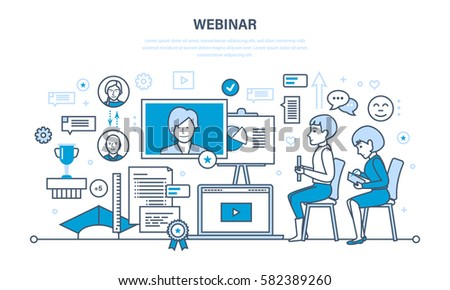 Modern digital technology and communications, online learning, trainings, webinars, data and information sharing. Illustration thin line design of vector doodles, infographics elements.