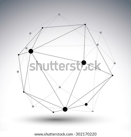 Modern digital technology style, abstract unusual object, vector tech complicated 3d figure isolated on white backdrop.