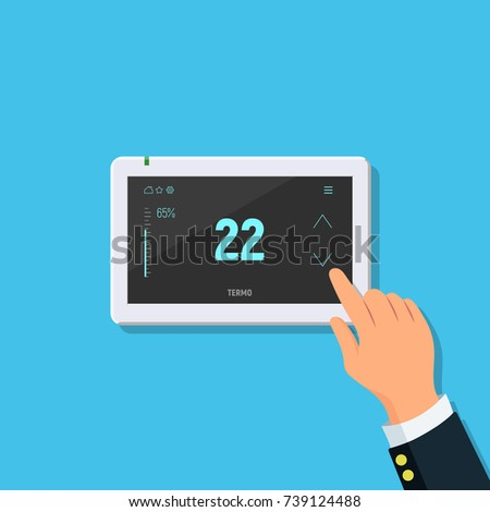 Modern digital touchscreen thermostat. Close-up of person hand with temperature controller. Concept air conditioning and smart home. Vector illustration in flat style.