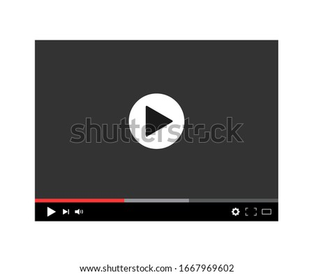 Modern digital video player. Screen media player with navigation panel. Black mockup player and video frame for web, social web and mobile apps. Window online hd stream. Load movie or film. Vector.