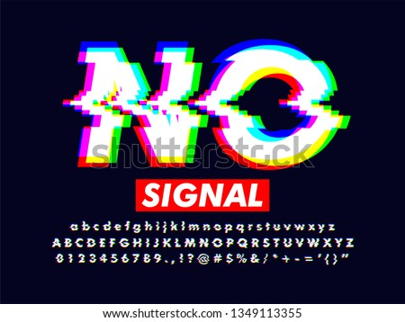 modern distorted glitch screen effect, no signal font style with rgb color, led screen error glitch effect, full alphabet set collection