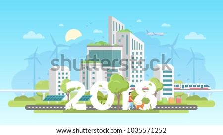 Modern eco city - colorful flat design style vector illustration on blue background. A composition with skyscrapers, train, bins, trees, solar panels, windmills, woman walking the dog, 2018 year sign