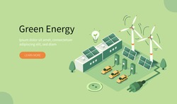 Modern Eco Industry with Windmills, Solar Energy Panels and Electric Car near Charging Station. Eco Power Station with Green Renewable and Solar Energy. Flat Isometric Vector Illustration.