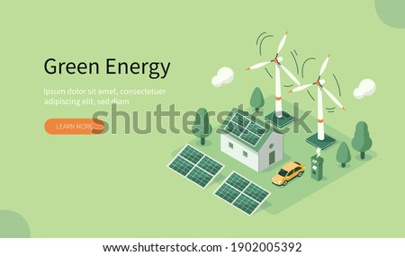 Modern Eco Private House with Windmills and Solar Energy Panels and Electric Car near Charging Station. Eco Home Powered by Green Renewable and Solar Energy. Flat Isometric Vector Illustration.