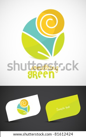 Modern eco-sun and leaves icon such logo and business cards, ESP10 vector.