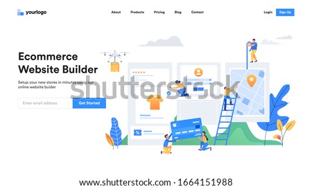 Modern ecommerce builder website template design. Flat Vector Illustration concept of web page design for Online Ecommerce Stores Website Builder. Easy to edit and customize.