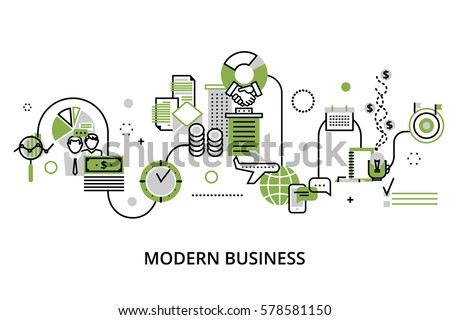Modern editable line design vector illustration, concept of modern business process and finance success in greenery color, for graphic and web design