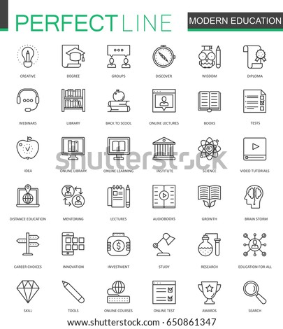 Modern education thin line web icons set. Online video training outline stroke icons design.