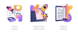 Modern educational technology abstract concept vector illustration set. Smart spaces, augmented reality book, digital reading, AI in education, digital content, e-classroom app abstract metaphor.