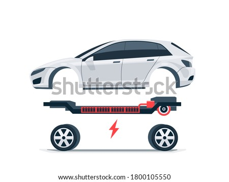 Modern electric car batteries platform board scheme with bodywork wheels. Electrical skateboard chassis components battery pack, electric motor powertrain, controller. Isolated vector illustration.