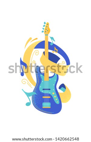 Modern electric guitar flat vector illustration. String musical instrument and notes isolated clipart. Rock band performance. Guitarist professional equipment design element. Live music concert, show