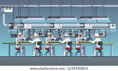 Modern electric pcb factory assembly line with soldering irons and ventilation. Engineer workers working assembling, soldering, testing with electronic oscilloscopes. Flat cartoon vector illustration