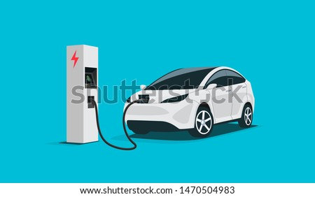 Modern electric smart suv car charging parking at the charger station with a plug in cable. Isolated flat vector illustration concept on white background. Electrified future transportation e-motion. Stockfoto ©