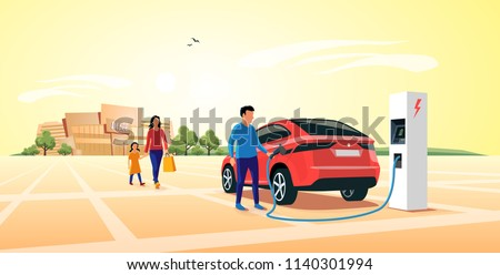Modern electric suv car parking at the charger station in front of shopping mall. Young family shopping while the electro car is recharging batteries. Flat vector illustration concept.