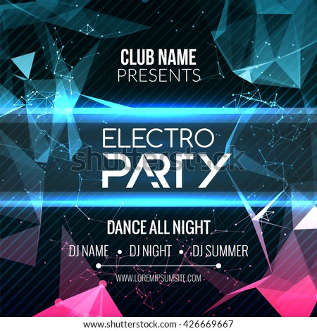 Modern Electro EDM party template, dance music flyer, brochure. Night musical DJ club banner poster