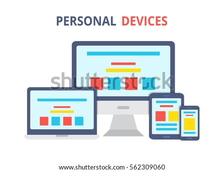 Modern electronic devices.Flat style illustration of laptop, pc, tablet and phone. Vector icon for websites and mobile minimalistic design. Popular gadgets.