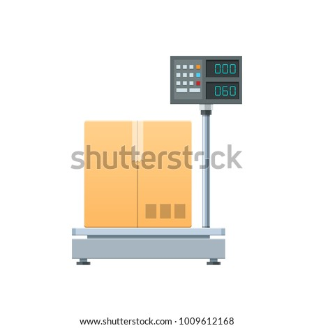 Modern electronic-digital cargo scales. Measuring device for cargo in the form of boxes, packages, freight and products. Scales for weighing heavy objects. Sea travel elements. Vector illustration.